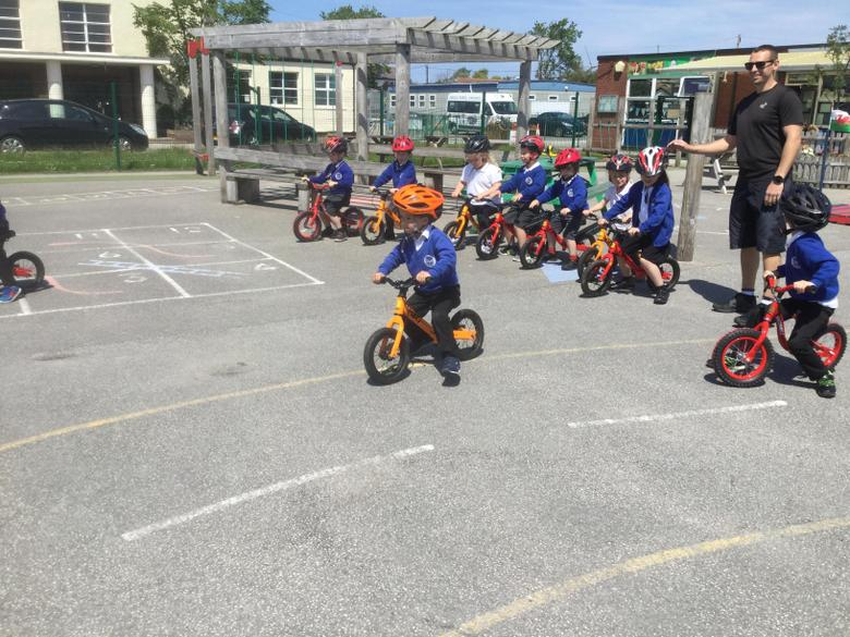 We lined up on our balance bikes