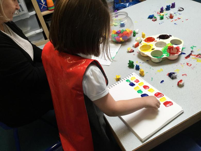 We made a patchwork pattern like Elmer