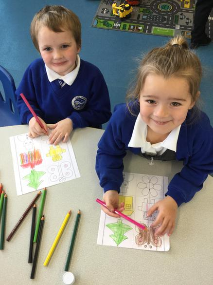 colouring the pictures to make them symmetrical