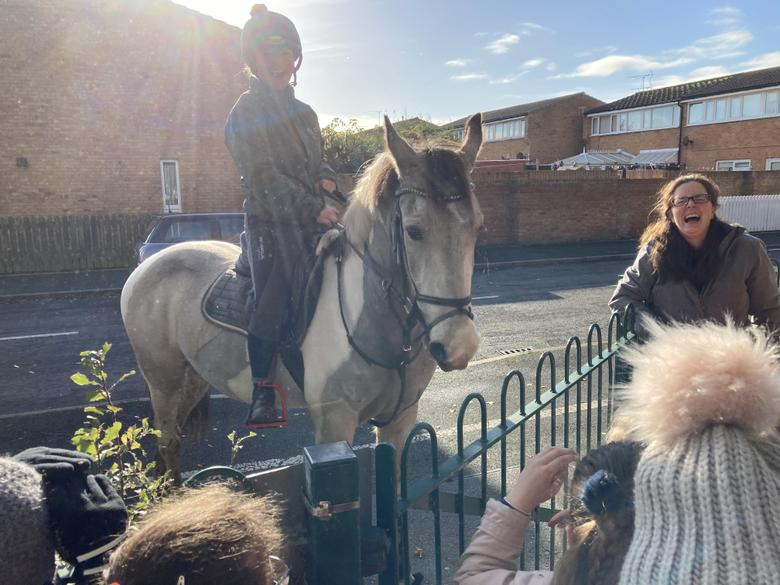 As we set of back to school we met a horse called Jimmy