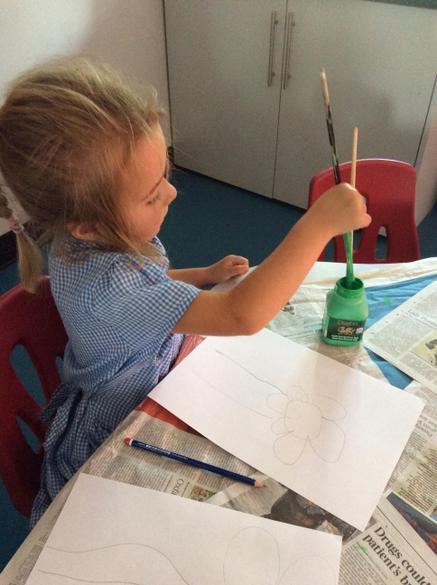 We used water to get the right paint colour