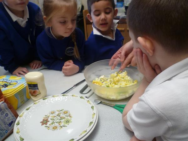 We mixed the cress and eggs together