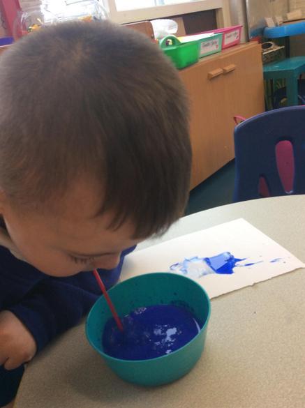 Blowing blue bubbles