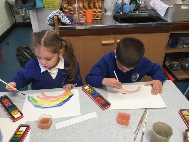 We painted rainbows to remember God's promise.