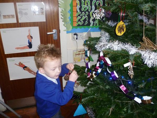 Decorating the school tree