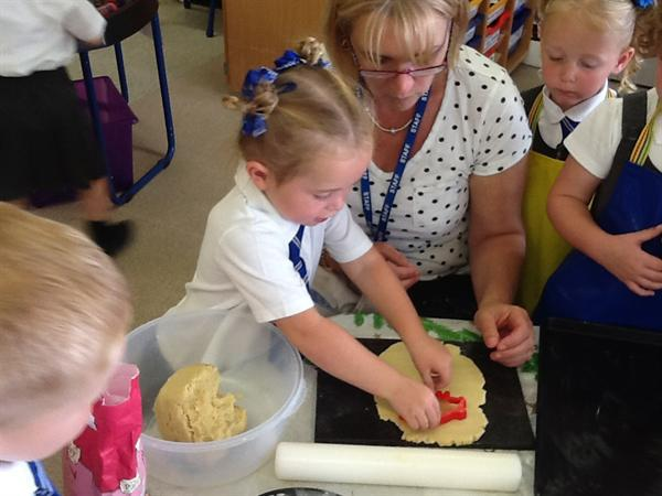 Using the cutters to make a biscuit