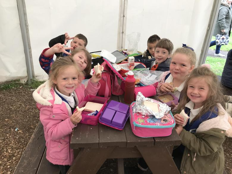 Enjoying our lunch in the marquee