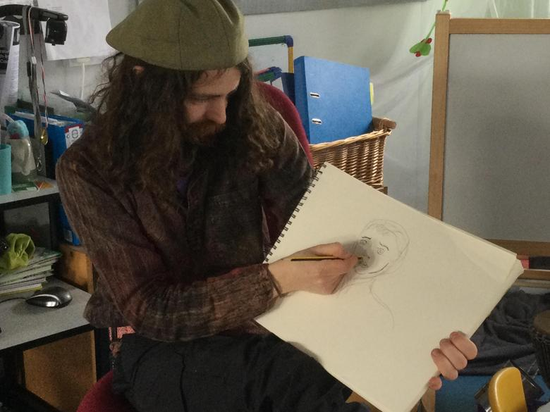 Liam also taught us some of his drawing and sketching techniques