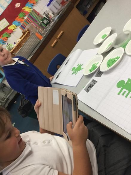 We took photos of our shape dinosaurs.