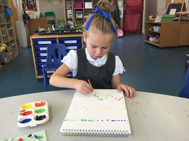 We followed the lines carefully with dots