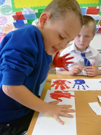 Welsh handprints (learning colours)