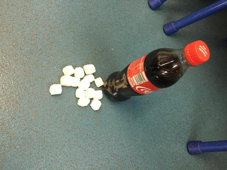 15 cubes of sugar in a bottle of coke