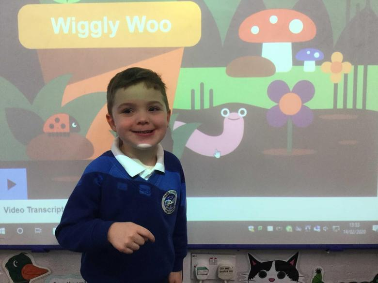 We really like singing and dancing to Wiggly Woo