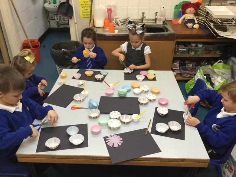 We practised our cutting skills