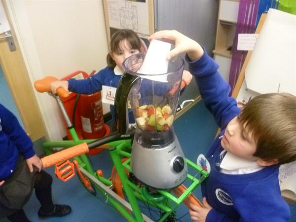 Making our smoothies for Fairtrade week February
