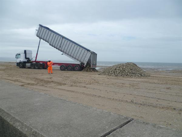 The builders on the beach were very noisey!
