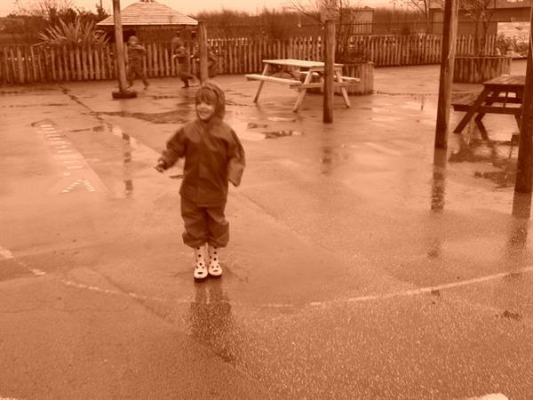 We love the big puddles to splash in!!