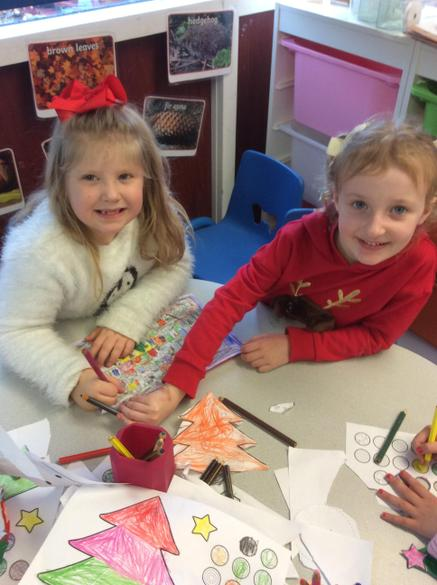 We've been colouring, cutting and sticking