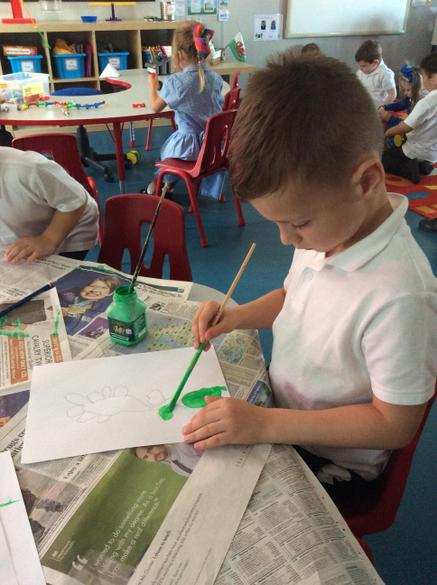 First we painted the flower stem