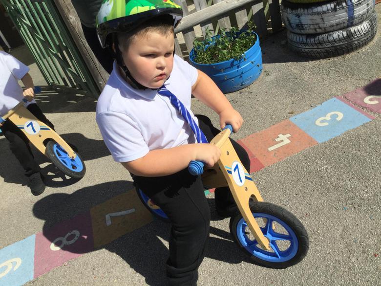 We always wear a crash helmet on the bikes.