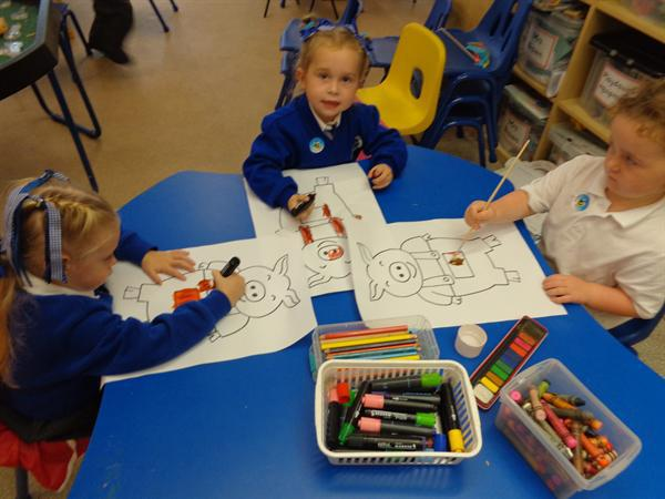 Colouring in 'The Three Little Pigs'
