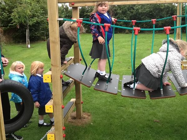 Having fun on our new climbing frame