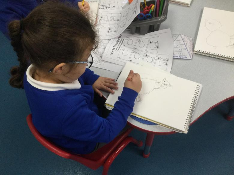 We followed the steps carefully to draw the animal