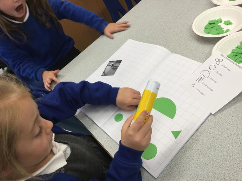 We chose our shapes and glued them.