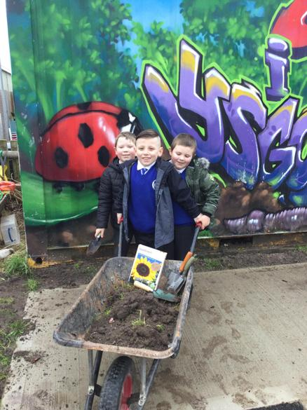 We also planted flowers, but first we needed soil