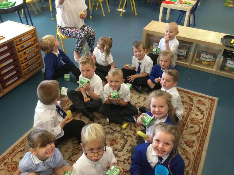 Snack time in our new reception class