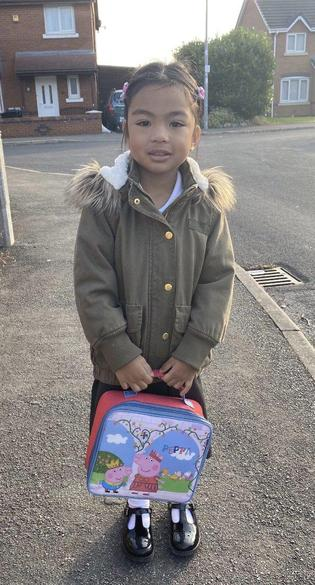 Parents sent pictures of their children walking to school