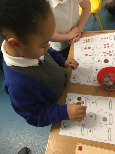 We have been making money totals with coins