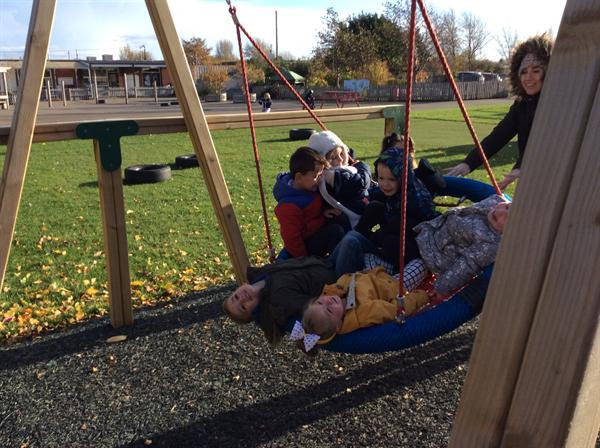 On the swing with friends