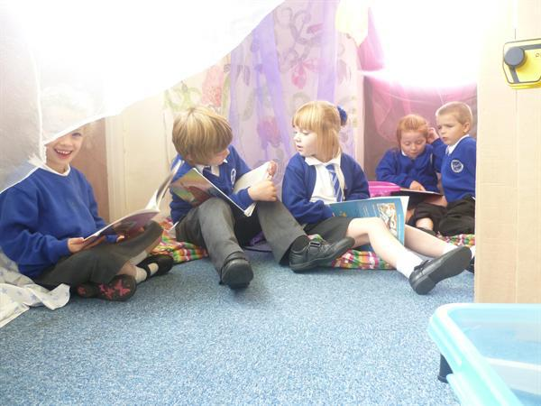 Sharing a book in the story castle