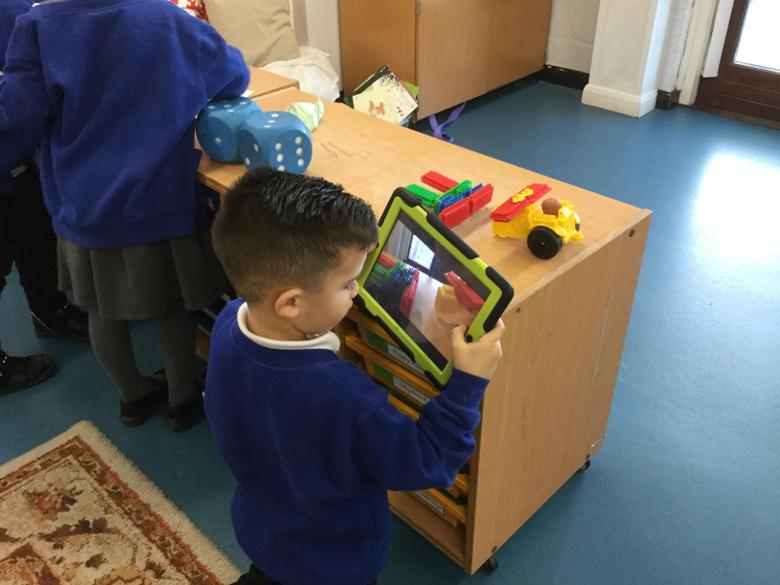 Taking photos of our construction work