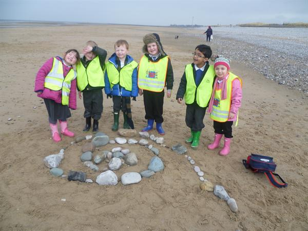 Our finished beach art!