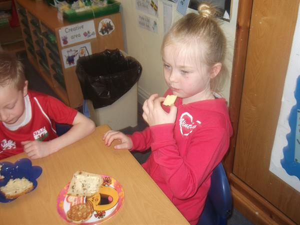 Tasting foods from Wales.