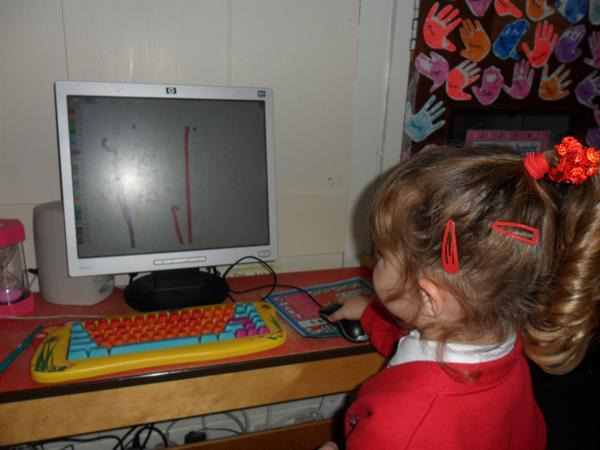 Practising number 1 on the computer