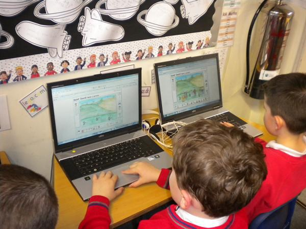We researched Dewi Sant on the laptops.