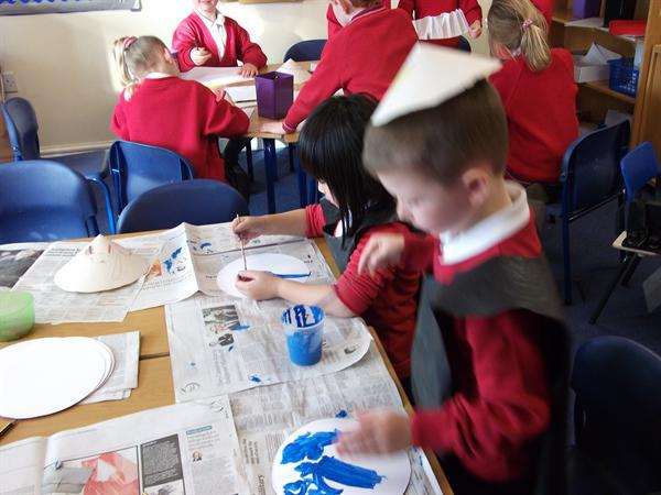painting Willow pattern plates.