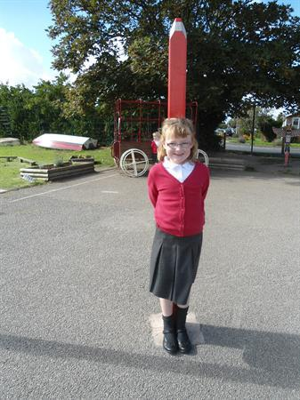 We looked for shapes around the school playground