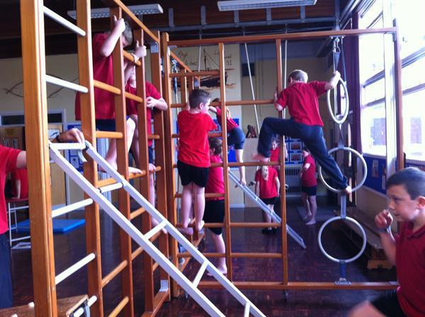Great fun on the large apparatus in P.E!