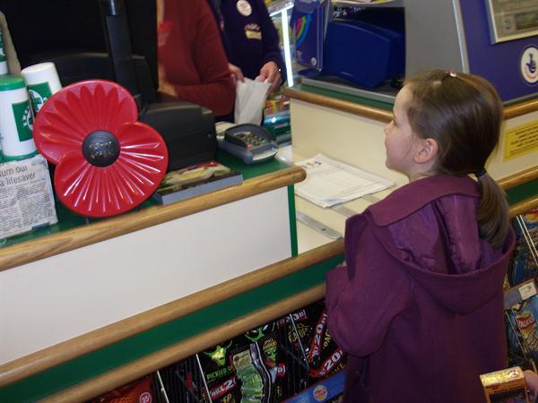 kacey at the counter.