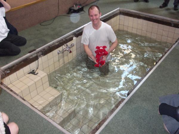 Dafydd in the baptism pool