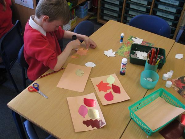 Making leaf collages like 'The Fall'.