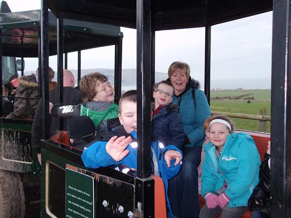 On the tractor ride.