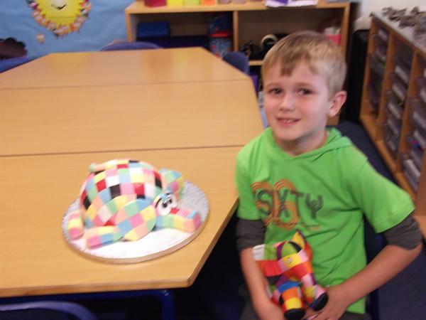The lovely Elmer cake Mrs Worsley made.
