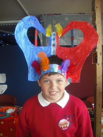 Year 5CB Create their headresses for the parade!