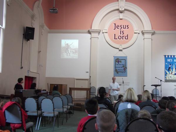 Reverend Trevor Casey told the story of Jesus'