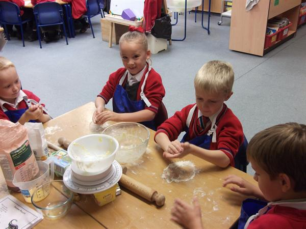 Moulding the mixture.